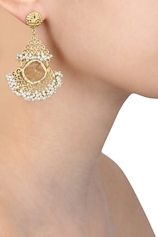 Gold plated citrine stone and pearl beads filigree earrings by Zariin