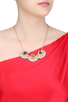 Gold plated citrine, smoky topaz and pearl beads necklace by Zariin