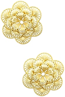 Gold Plated Flower Earrings by Zariin