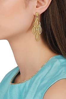 Gold Plated Leaf Drop Earrings by Zariin