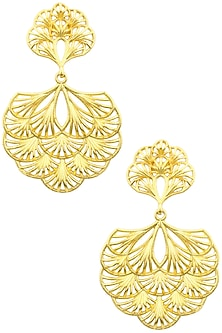 Gold Plated Multi-Layer Petal Earrings by Zariin