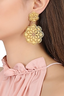 Gold Plated Two Drop Flower Earrings by Zariin