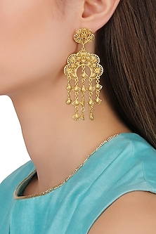 Gold Plated Abstract Hanging Earrings by Zariin