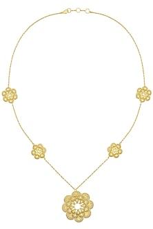 Gold Plated Textured Flower Drop Necklace by Zariin