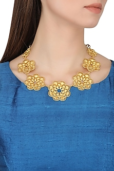Gold Plated Multi-Layered Flower Necklace by Zariin