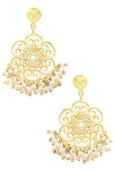 Gold Plated Pearl Earrings by Zariin