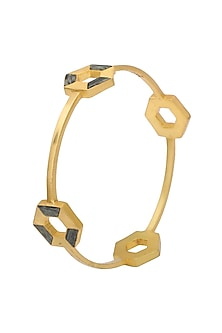 Gold Plated Moftail Jasper Bangle by Zariin
