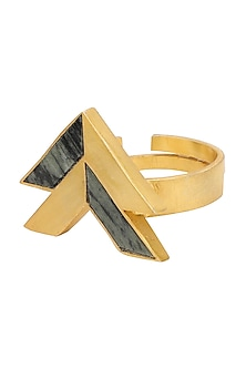 Gold Plated Triangular Moftail Jasper Ring by Zariin