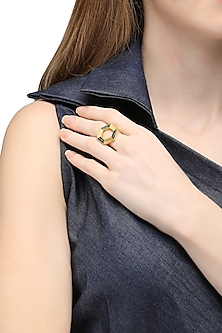 Gold Plated Hexagonal Moftail Jasper Ring by Zariin