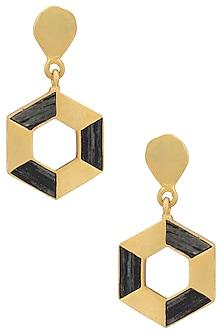 Gold Plated Hexagonal Drop Earrings by Zariin