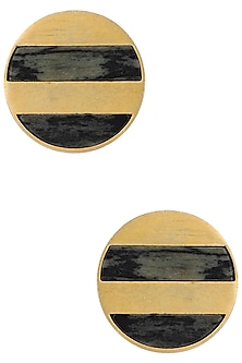 Gold Plated Circular Stud Earrings by Zariin