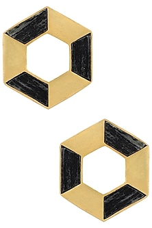 Gold Plated Hexagonal Stud Earrings by Zariin