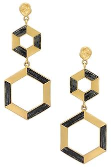 Gold Plated Double Hexagonal Drop Earrings by Zariin