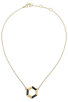 Gold Plated Hexagonal Necklace by Zariin