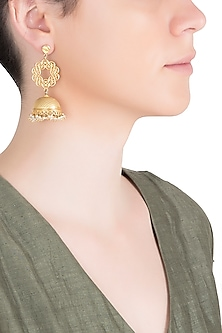 Gold Plated Pearl Beads Earrings by Zariin