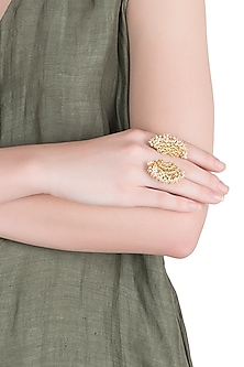 Gold Plated Pearl Beads Ring by Zariin