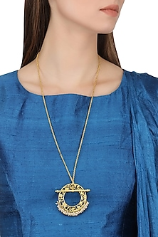 Gold Plated Filigree Pearl Hangings Pendant Necklace