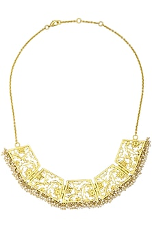 Gold Plated Filigree Pearl Hangings Necklace by Zariin