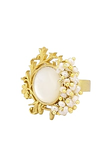 Gold Plated Filigree Mother Of Pearl Ring by Zariin