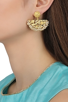Gold Plated Half Moon Drop Filigree Pearl Earrings