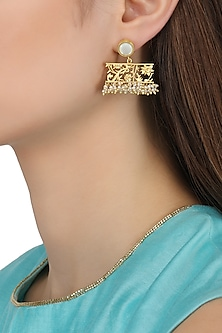 Gold Plated Filigree Mother Of Pearl Drop Earrings