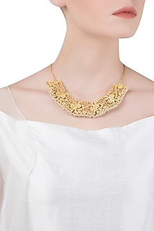 Gold Plated Pearl Bead Necklace by Zariin