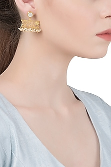 Gold Plated Mother Of Pearl and Beads Earrings