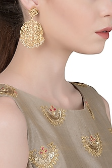 Gold Plated Floral Design Earrings by Zariin