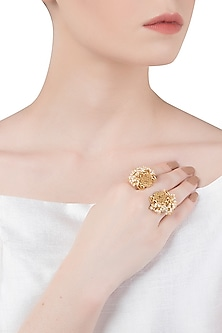 Gold Plated Small Pearl Beads Ring