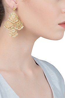 Gold Plated Silver and Pearl Beads Earrings