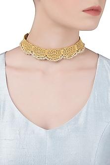 Gold Plated Pearl Bead Choker by Zariin