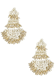 Gold Plated Top To Bottom Pearl Beads Earrings by Zariin