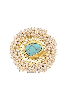 Gold Plated Turquoise Gemstone and Pearl Beads Ring by Zariin