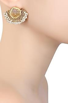 Gold Plated Citrine Stone Filigree Earrings by Zariin