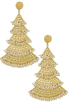 Gold Plated Filigree Cascading Earrings by Zariin