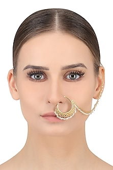 Gold Plated Pearls Hanging Nose Ring/Nath by Zariin