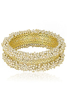 Gold Plated Pearls Filigree Design Bangles by Zariin