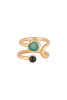 22Kt Gold Plated Green Chalcedony & Black Onyx Adjustable Ring by Zariin