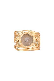 22Kt Gold Plated Whitish Green Amethyst Adjustable Ring by Zariin