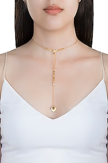 22Kt Gold Plated Smoky Topaz Necklace by Zariin