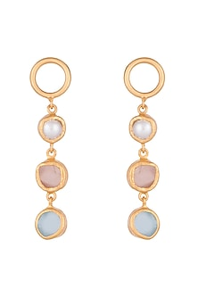 22Kt Gold Plated Baroque Pearl, Rose Quartz & Blue Topaz Earrings by Zariin