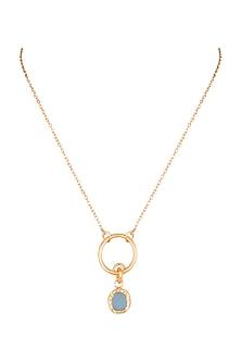 22Kt Gold Plated Blue Topaz Necklace by Zariin