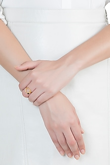 22Kt Gold Plated Black Onyx Adjustable Ring by Zariin