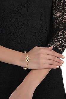 Gold plated black onyx bangle