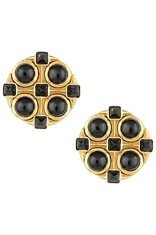 Gold plated black onyx big stud earrings by Zariin