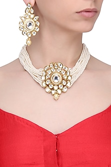 Gold finish pearl and kundan choker necklace set by Zevar by Geeta