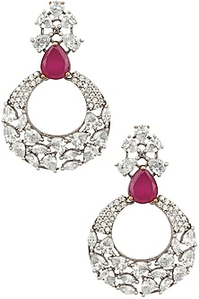 Antique silver finish CZ's Victorian bali earrings by Zevar by Geeta