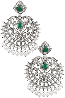 Antique silver finish Victorian look chandbali earrings by Zevar by Geeta