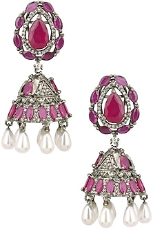 Antique silver finish victorian style jhumki earrings by Zevar by Geeta