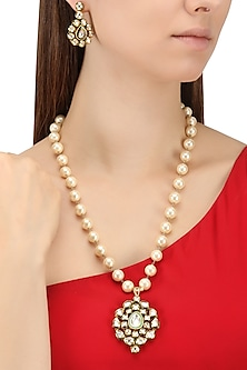Gold Finish Kundan and Pearls Pendant Set by Zevar by Geeta